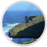 Grass Growing Along The Sea Cliffs In Ireland Round Beach Towel