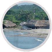 Grass Huts Colombia Round Beach Towel