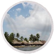 Grass Huts Colombia II Round Beach Towel