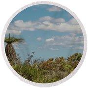 Grass Tree Landscape Round Beach Towel