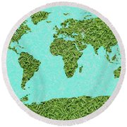 Grass World Map Round Beach Towel