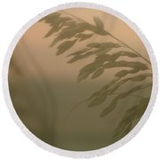 Grasses And Mist Round Beach Towel