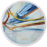 Grasses In The Snow Round Beach Towel