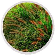 Grasses In The Verticle Round Beach Towel