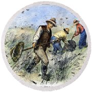 Grasshopper Plague, 1888 Round Beach Towel