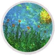 Grassland With Orange Flowers Round Beach Towel