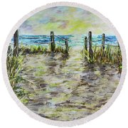 Grassy Beach Post Morning 2 Round Beach Towel