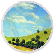 Grassy Hills At Meadow Creek Round Beach Towel
