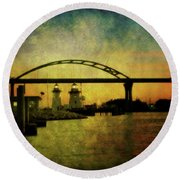 Grassy Island Lighthouses Round Beach Towel