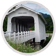 Grave Creek Bridge Round Beach Towel