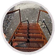 Gravel Pit Grinder Rusty Staircase Round Beach Towel