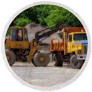Gravel Pit Loader And Dump Truck 01 Round Beach Towel