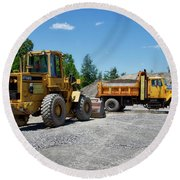 Gravel Pit Loader And Dump Truck 03 Round Beach Towel
