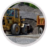 Gravel Pit Loader And Dump Truck 04 Round Beach Towel
