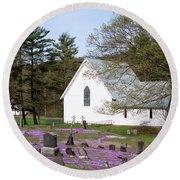 Graveyard Phlox Country Church Round Beach Towel