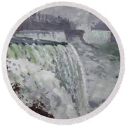 Gray And Cold At American Falls Round Beach Towel