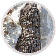 Gray Bark Abstract Round Beach Towel