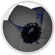 Gray Blue Poppy Round Beach Towel