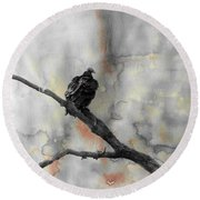 Gray Day Vulture Round Beach Towel