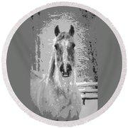 Gray Horse Round Beach Towel