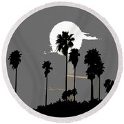 Gray Palms Round Beach Towel