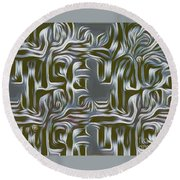 Gray Pattern,abstraction Round Beach Towel