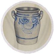 Gray Pottery Jar Round Beach Towel