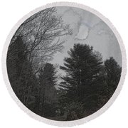 Gray Skies Over The Pines Round Beach Towel
