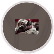 Gray Tabby With White Quilted Throw Round Beach Towel