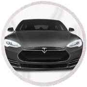 Gray Tesla Model S Luxury Electric Car Front View Isolated On Wh Round Beach Towel