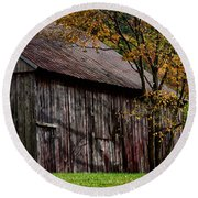 Gray Weathered Barns Number Three Round Beach Towel