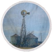 Gray Windmill 2 Round Beach Towel