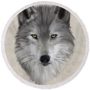 Gray Wolf Round Beach Towel