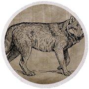 Gray Wolf Timber Wolf Western Wolf Woods Texture Round Beach Towel