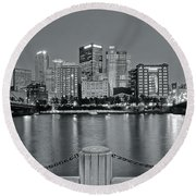 Grayscale By The River 2017 Round Beach Towel