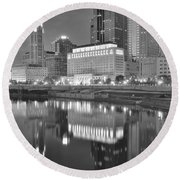 Grayscale Columbus Round Beach Towel