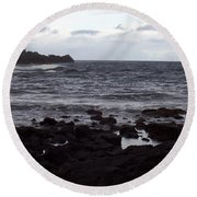 Grayscale Round Beach Towel