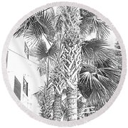 Grayscale Palm Trees Pen And Ink Round Beach Towel