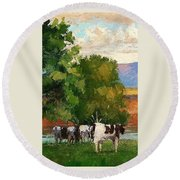 Grazing By Our Creek Round Beach Towel