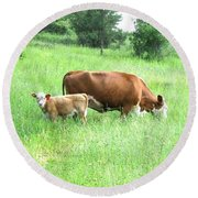 Grazing Cow And Calf Round Beach Towel