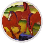 Grazing Horses Iv The Red Horses 1911 Round Beach Towel