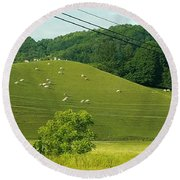 Grazing On The Mountain Side Round Beach Towel