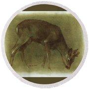 Grazing Roe Deer Oil Painting Round Beach Towel