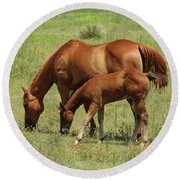 Grazing Together Round Beach Towel