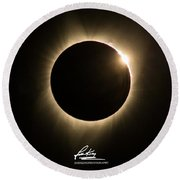 Great American Eclipse 16x9 Totality Square As Seen In Albany, Oregon Signature Edition. Round Beach Towel