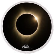 Great American Eclipse Diamond Ring 5x7 As Seen In Albany, Oregon.  Signature Edition Round Beach Towel