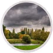 Great Barford River View Round Beach Towel