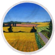 Great Bedwyn Wheat Fields Painting Round Beach Towel