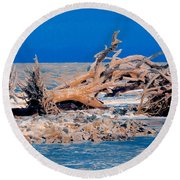 Great Blue Driftwood Round Beach Towel