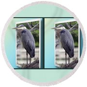 Great Blue Heron - Gently Cross Your Eyes And Focus On The Middle Image Round Beach Towel